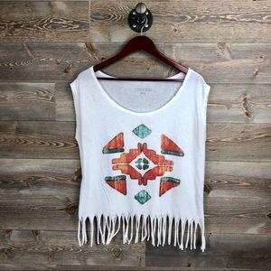 Dreamr White Aztec Print Fringe Top